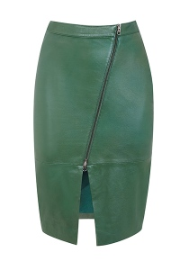 green leather skirt with zipped front