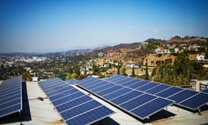Solar panels on a home in Los Angeles