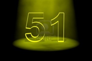 13588522-number-51-illuminated-with-yellow-light-on-black-background