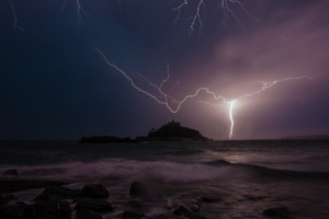 Lightning strikes over St Michael's Mount after heatwave