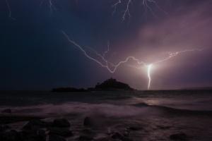 Lightning strikes over St Michael's Mount after heatwave